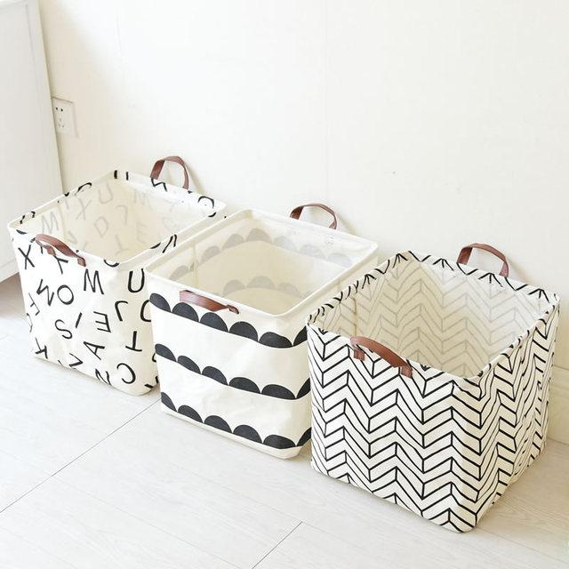 New Foldable Laundry Bag Basket Mianma Toy Debris Instoragebarrels Desk  Square Cloth Storage Baskets Canvas Large