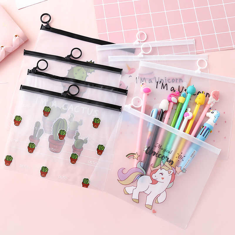 Lolede 1pcs Frosted Translucent Pencil Case PVC Waterproof Stationery Storage Office School Supplies Pencil Bags Pencil Pouch