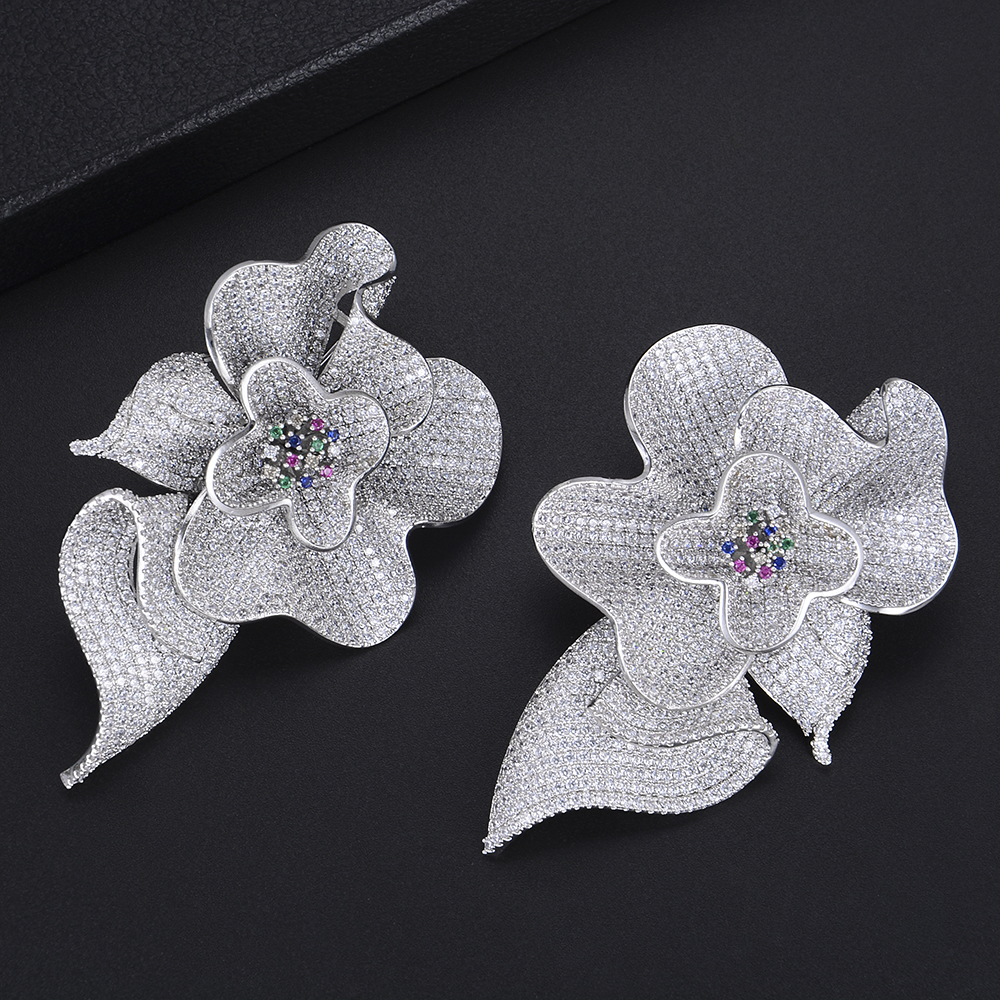 77MM Luxury Big Blooming Flower Shape Drop Dangle Earrings For Women Wedding Bridal Jewelry stylish big blooming peony pattern silky scarf for women