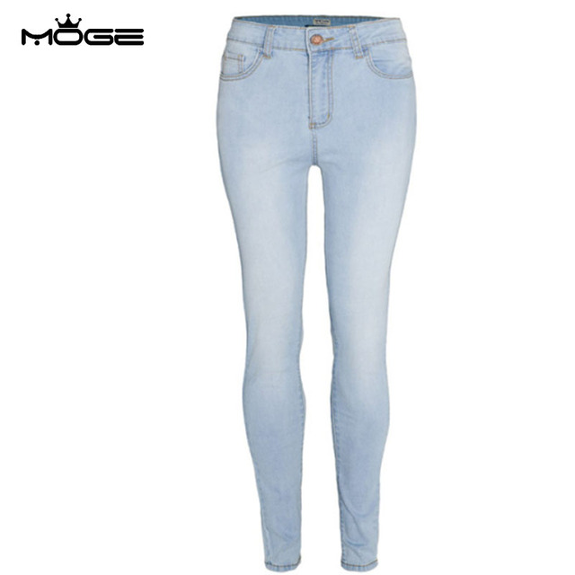 e7ed7ac812675 MOGE slim skinny jeans woman cotton blue Petite Jeans stretch white denim  pencil pant plus size