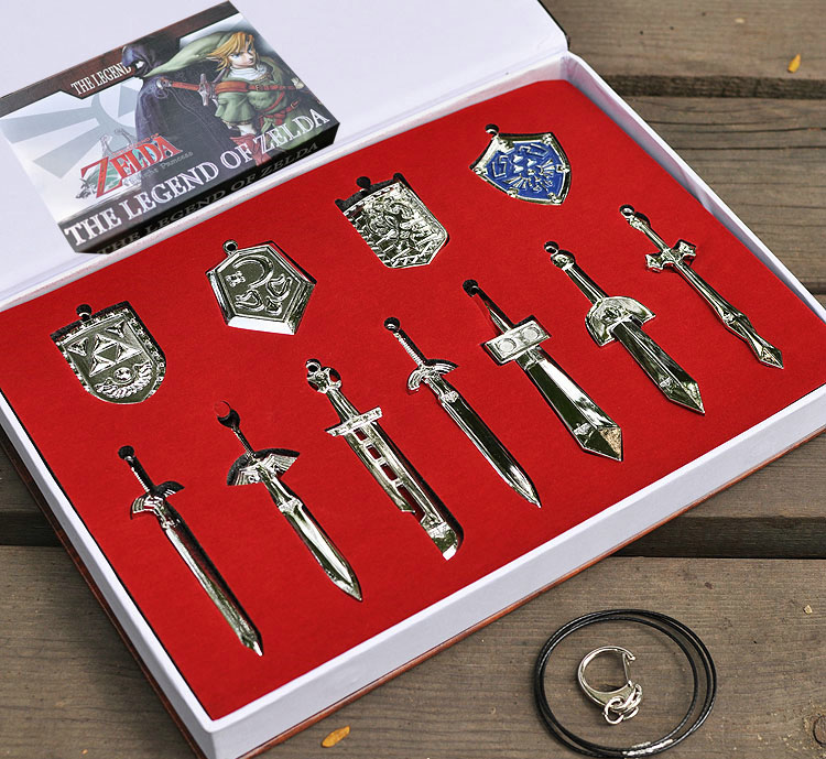 The Legend of Zelda Weapons Link Swords 11pcs/set Keychains Necklace Weapons Free Shipping