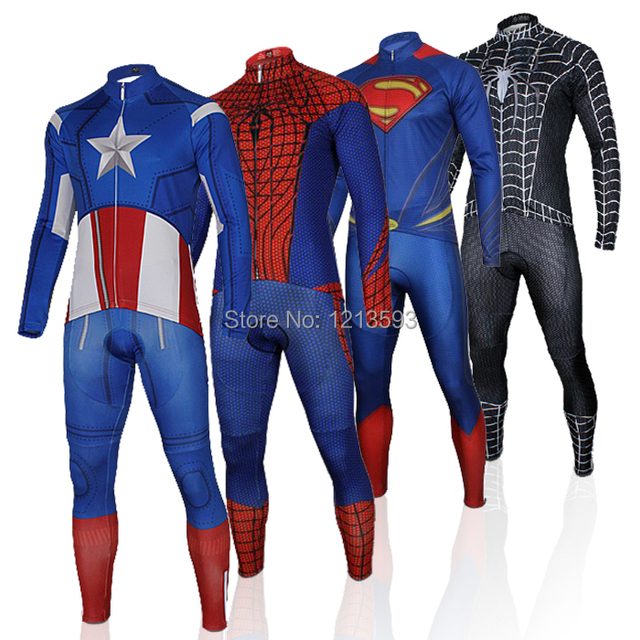 1f2fd47e1 Captain America Superman Spiderman Iron Man 2014 Cycling Jersey long  sleeves ropa ciclismo wolfbike bicycle wear