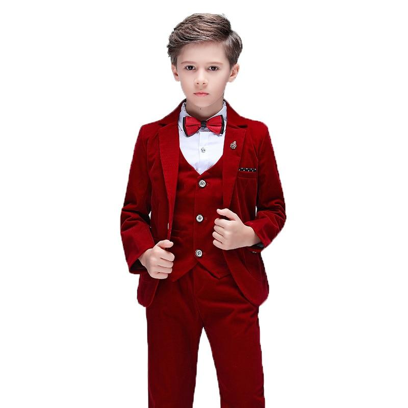 Velours côtelé fleur garçon rouge robe de mariée Costume ensembles enfant Piano Performance Costume de fête enfants Blazer gilet pantalon Shorts tenues