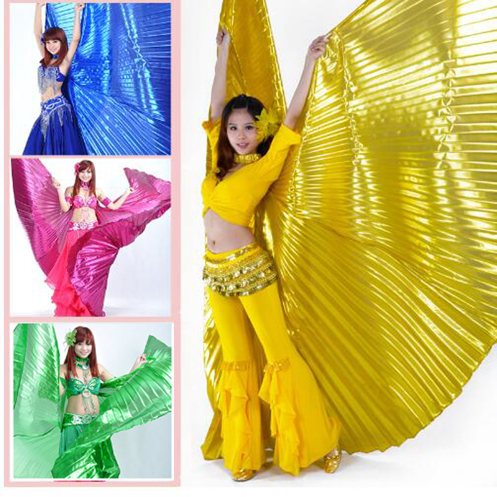 Bazzery Belly Dance Wings Women Isis Wings Belly Dancing Angle Wings Gold Silver for Adult Girls 10 Colors (No Sticks)