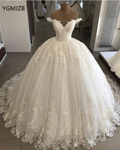 Princess Wedding Dresses 2019 Ball Gown Off Shoulder Sweetheart Glitter Applique Lace Saudi Arabic Bride Dress Vestido De Noiva