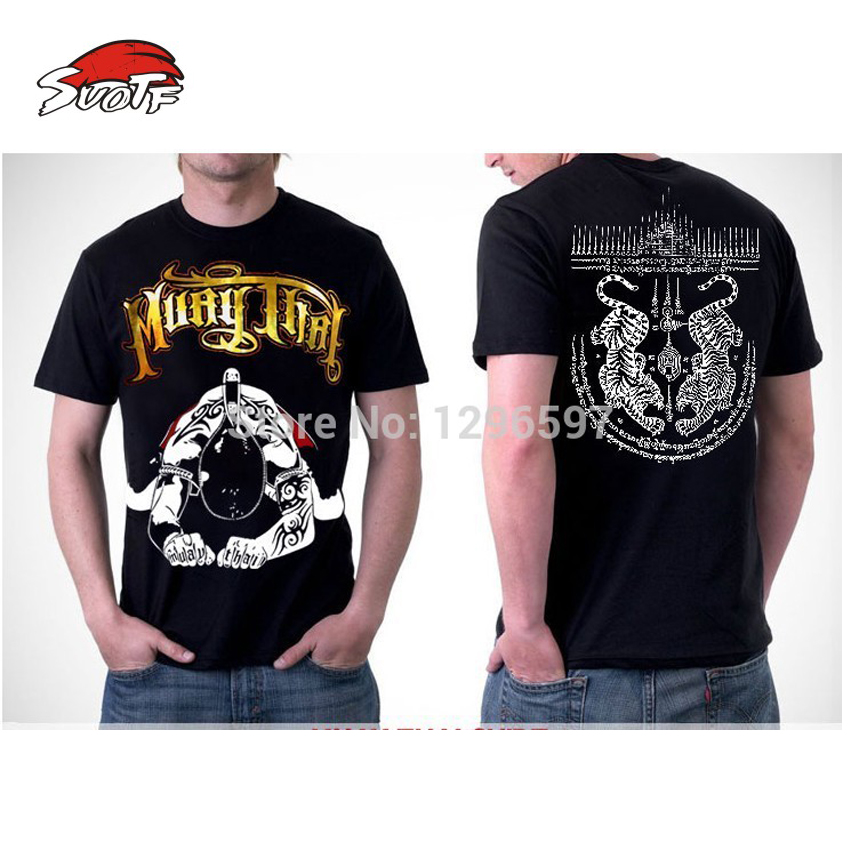 SUOTF Hot Sale! MMA Fight Men Combat Cage Crown Boxing T-shirts Muay Thai Mens XXL Hight Quality Cotton Tee Muay Thai Shorts