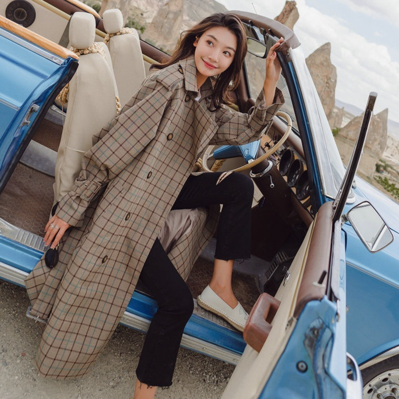 Autumn Plaid   Trench   Coat Chic Windbreaker Woman New Favourite Epaulettes Belted Waist And Cuffs Outerwear Loose checked Coat