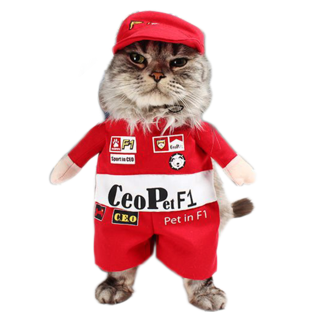 Funny F1 Racer Costume for Pets Cat Apparel Clothes for Dogs Halloween Christmas Cosplay Clothing Costume for a cat