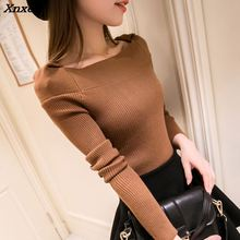 Xnxee 2018 Fall fashion collar knit turtleneck Korean women slim shirt sweater female color fall short