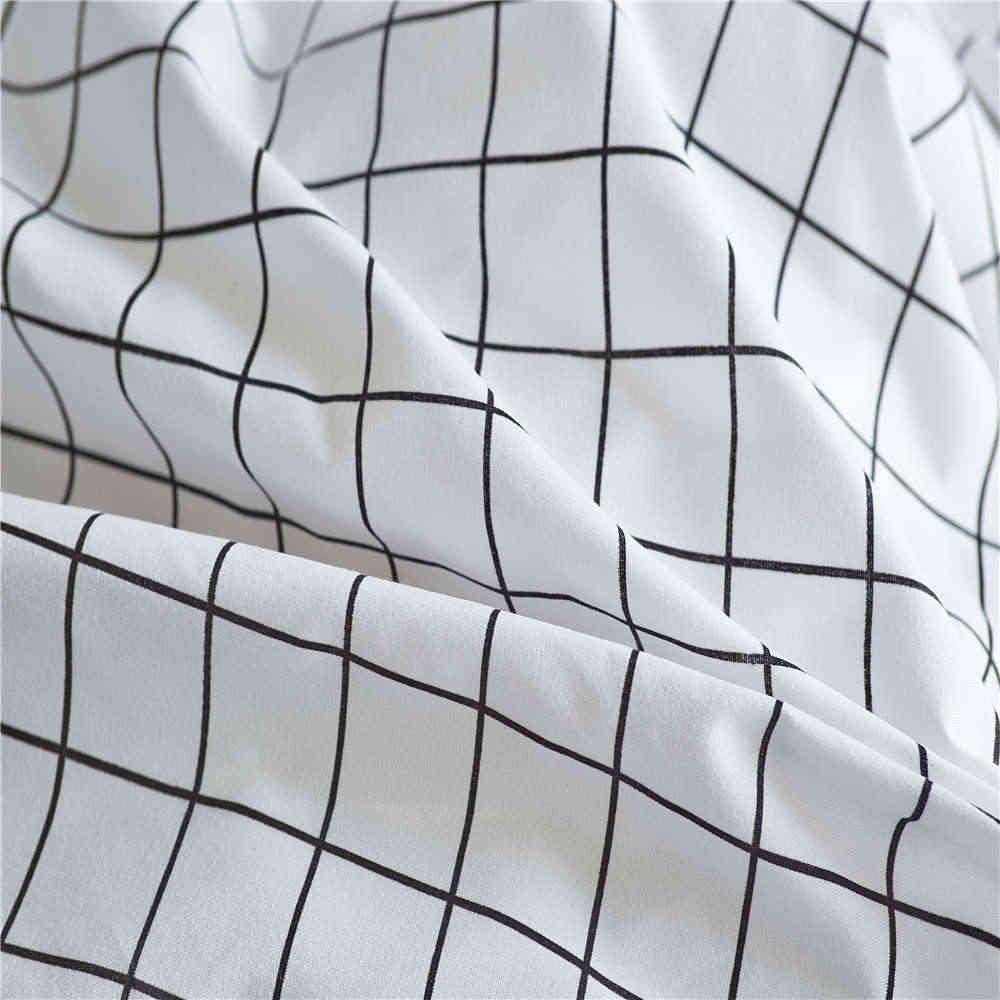 Nordic решетки постельные принадлежности комплект постельное белье простой моды в полоску белая кровать набор пододеяльников для пуховых одеял