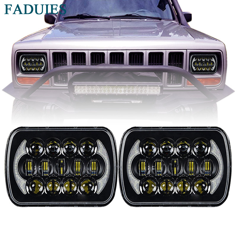 FADUIES 105W 5''x7'' Led Headlights with DRL for Jeep Wrangler YJ Cherokee XJ H6054 H5054 H6054LL 69822 6052 6053 (Black Pair)