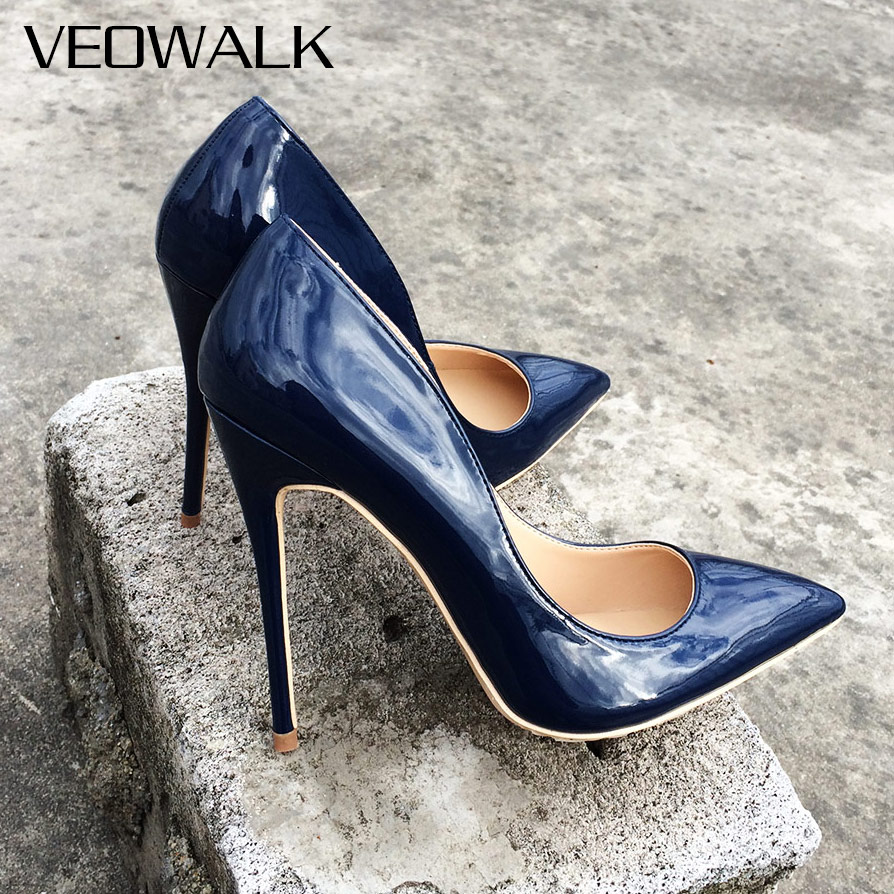 Veowalk Italian Style Women Pointed Toe High Heels Gloss Patent Leather Stilettos Ladies Solid Color Pumps <font><b>Shoes</b></font> <font><b>Navy</b></font> Blue