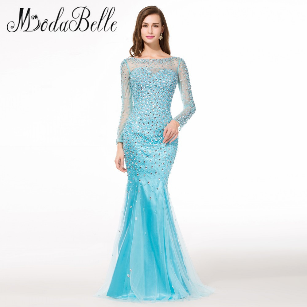 Ice Blue Mermaid Long Sleeve Prom Dress 2016 Glitter Crystal Long ...