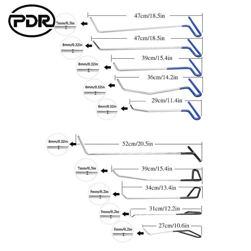 Pdr Gereedschap Haken Rvs Push Staven Uitdeuken Auto Body Dent Repair Reverse Hamer Verveloos Dent Remover Crowbar Kit - 2
