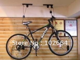 Bicycle Hoist Garage Ceiling Lift Pulley Bike Racks, ceiling racks on bicycle garage, make a bike hanger for the garage, methods to hang bike in garage, how my room to hang in a bmx bike,