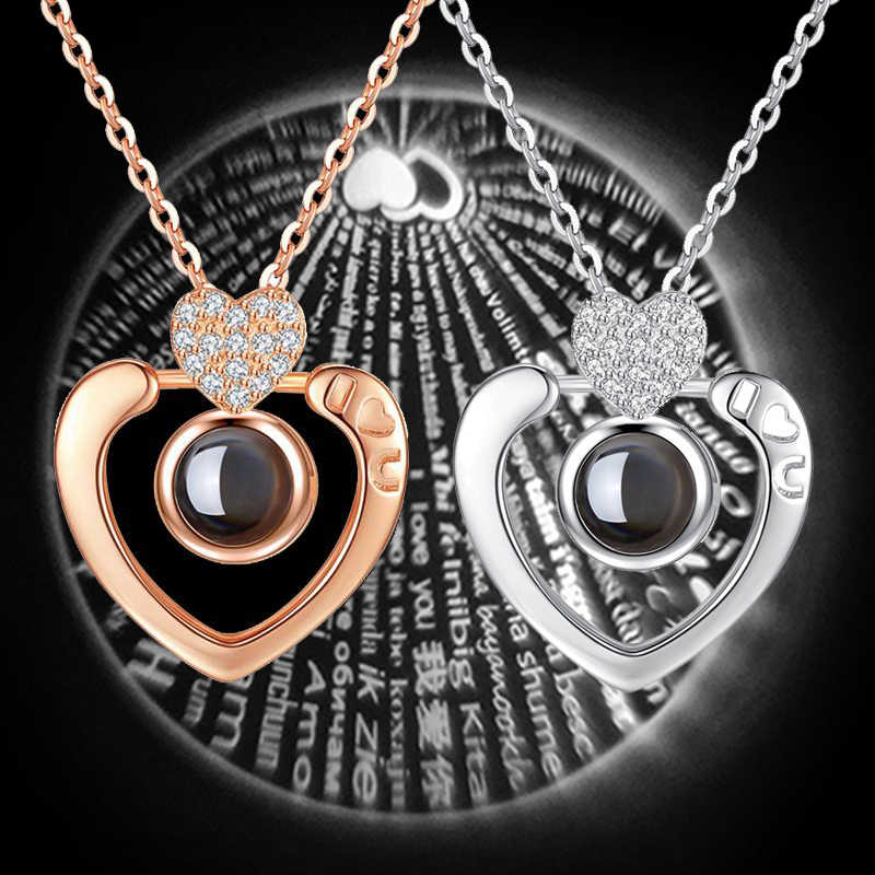 100 languages I love you Projection Pendant Necklace Romantic Love Memory Wedding Necklace Fashion Necklaces For Women 6 Styles