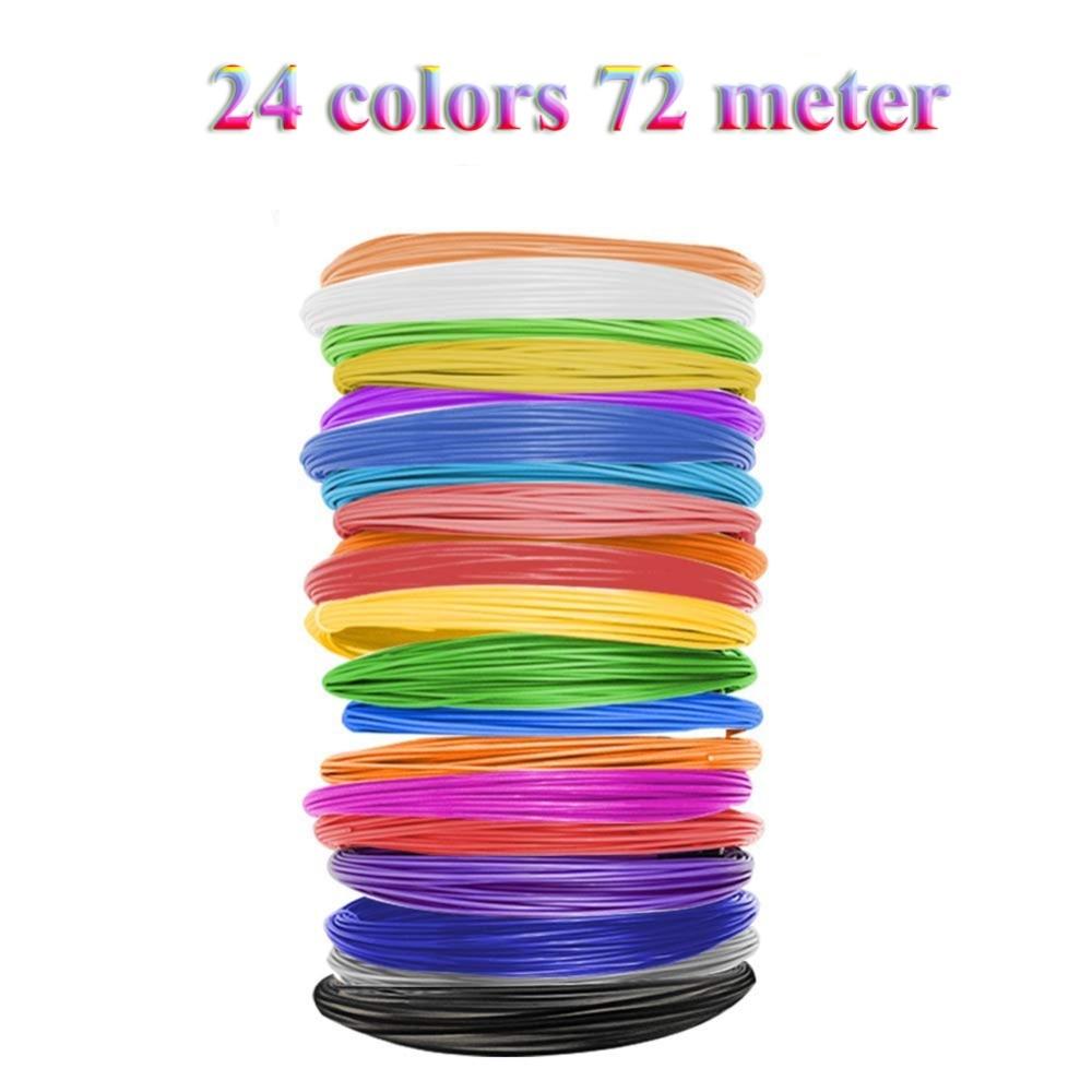 Dikale 1.75mm 3D Printing Material No Pollution 3D Pen PLA Filament Special Modeling Stereoscopic 3D Printer Filament 24 Colors