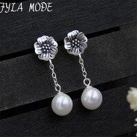 Modo Fyla Joyería de Moda Shell Pendientes de Perlas S990 Plata Pura Plata Tailandés de la Antigüedad Pendientes Flor Para Las Mujeres 9.50mm TYC204