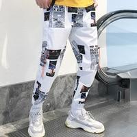 Harajuku Newspaper Graphic Printed Joggers Haram Pants Streetwear Hip Hop Casual Track Trousers Dance Loose Male Pants White Bla