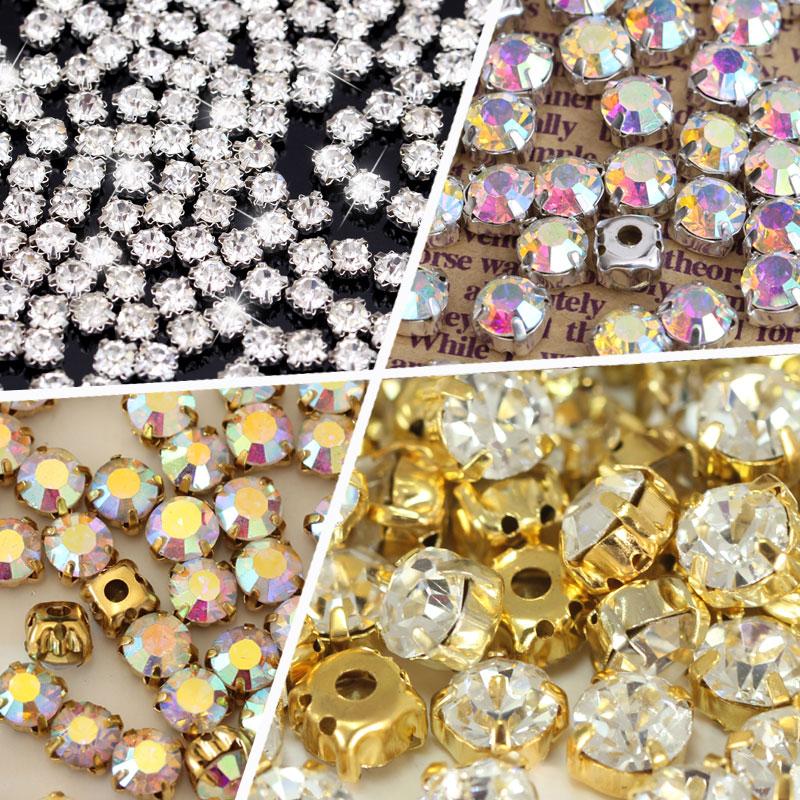 Круглые формы серебро и золото пришить стразы с коготь Кристалл/кристалл AB стекло Блеск Стразы для свадебное платье B1157