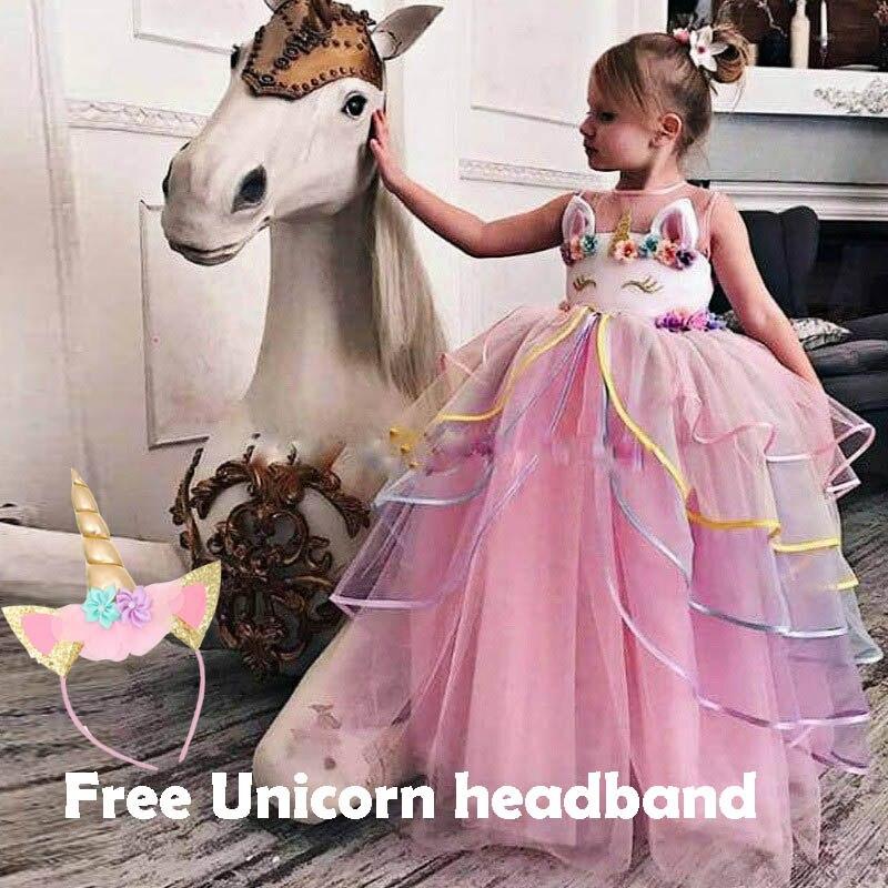 0843fb887 يتوهم طفلة الملابس الجنية يونيكورن اللباس للبنات Unicornio Infantil الأطفال  الصيف ملابس الفتيات زي للأطفال فساتين