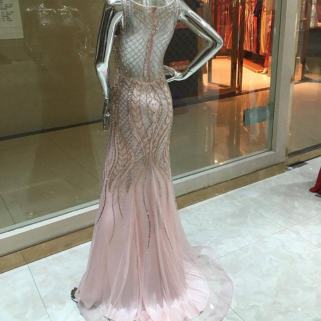 Online Shop Open Back Blush Mermaid Evening Dresses Stunning ...