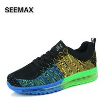 2016 Men's Running Shoes Athletic Outdoor Sport Sneakers Orignial Zapatos De Hombre Air Cushion Flywire Mesh Breathable Shoes