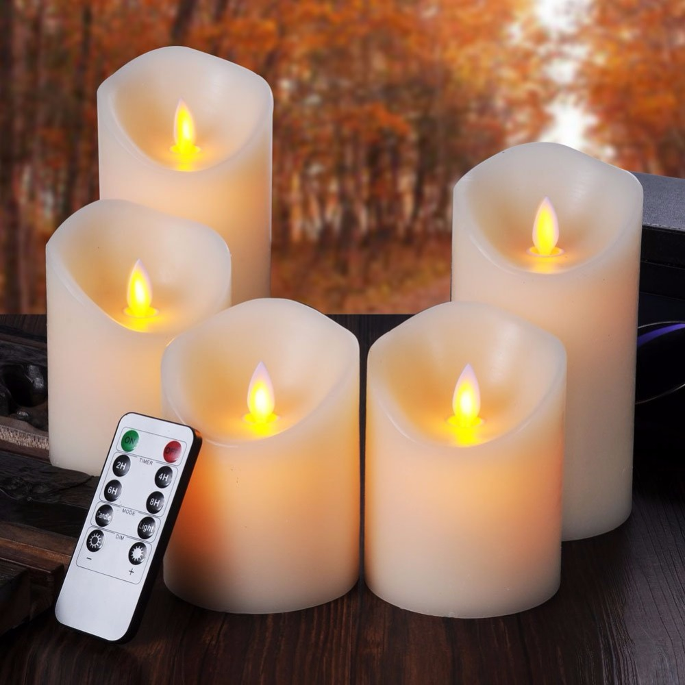 Set Of 5 Led Flameless Candles With Remote Control Timer Pillar
