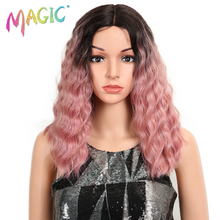 MAGCI Hair 14Inch Lace Front Wig For Black Synthetic Wigs Deep Wavy Heat Resistant Hair Wavy Wig Rose Red Synthetic Hair Wigs