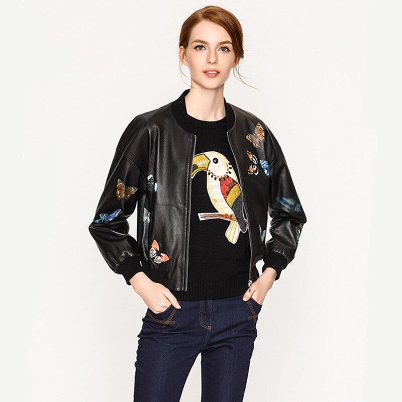 2019 Frauen Schmetterling Stickerei Leder Jacke Plus Größe Xxxl Echtem Schaffell Weibliche Mode Kurze Leder Mantel Freies Verschiffen