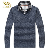 Sweater Men Polo Striped Pullover Cotton Knitted Sweaters Male Jumper Plus Velvet Tops Fake Two Piece Collar Clothes Size M 3XL
