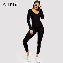 0c23aa9c558c SHEIN Black Striped Side Seam Backless Unitard Skinny Jumpsuit 2019 Women  Maxi Round Neck Long Sleeve Going Out Jumpsuit