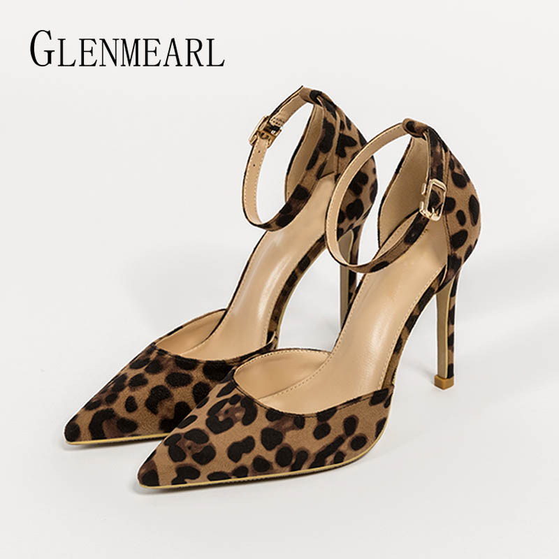Women Pumps High Heels Shoes Summer Sexy Leopard Pointed Toe Woman Wedding Shoes High Brand Plus Size Female Dress Shoes 2019