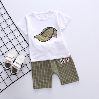Newborn White Gray Baby Boy Summer Clothing Sets For Kids 1