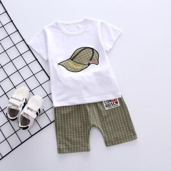 Newborn White Gray Baby Boy Summer Clothing Sets For Kids 1