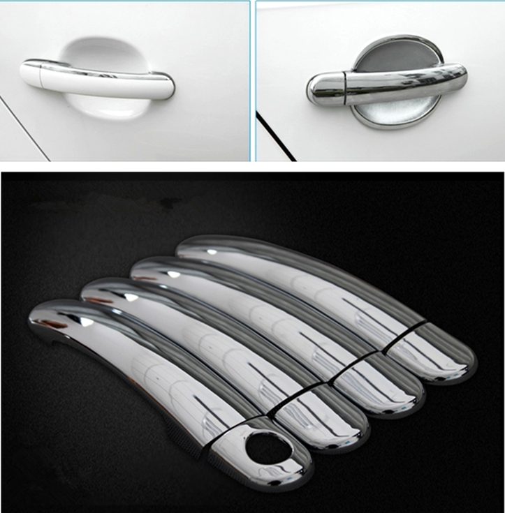FUNDUOO Chrome Car Side Door Handle Cover Trim Sticker For VW Polo 2010 2011 2012 2013 2014 2015 2016 2017 Free Drop Shipping