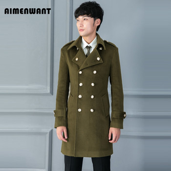 AIMENWANT Brand Autumn/Winter New Design Woolen Coat for mens Double Breasted Slim Fit Military Army Green Overcoat Male Outwear