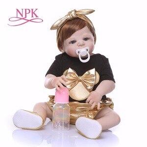 Image 2 - Npk 56cm boneca de silicone de corpo inteiro, renascida, vida real, princesa, bebê, boneca para presente do dia das crianças natal gif à prova d água