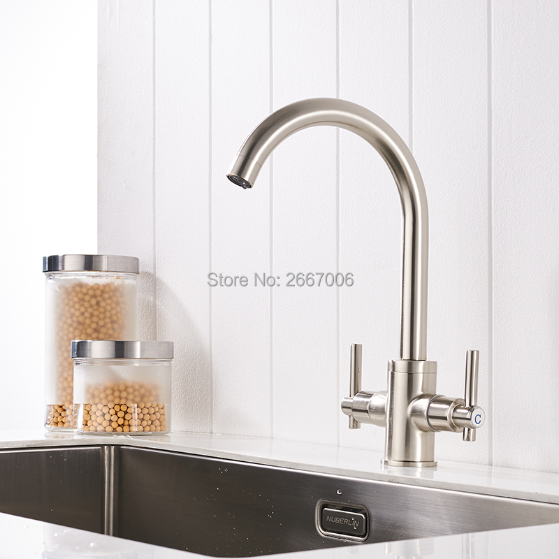 Free Shipping Nickle Brushed Faucet Swivel Spout Dual Handles Control Bathroom Kitchen Vanity Sink Mixer Tap