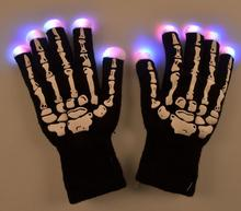 Skull Gloves LED Flash Luminous Gloves Christmas Party for Men and Women Full Fingers