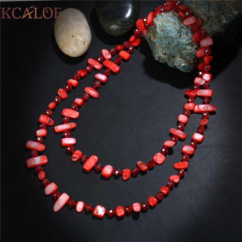 KCALOE Natural Red Shell Necklace For Women Handmade Bohemia Jewelry Austrian Crystal With Stones Dual Use Long Necklaces