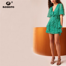 ROHOPO Butterfly Sleeve Polk Dot Chiffon Chic Dress Cascading Ruffles Drawing Belt Female Green Tiny Vestido Above Knee #UK9145