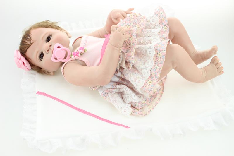 Full Silicone Reborn Baby Girls Dolls Lifelike Newborn Girl Babies Alive Doll for Child Bath Shower Bedtime Toy Doll CollectionFull Silicone Reborn Baby Girls Dolls Lifelike Newborn Girl Babies Alive Doll for Child Bath Shower Bedtime Toy Doll Collection