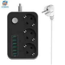 XINGG Plug Ue Soquete Da Extensão 3 Tomada Power Strip Com 6 Portas USB De Carregamento Multi Europa Tomada PowerCube 1.6 M cabo