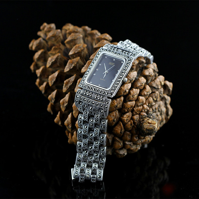 Men New Limited Edition Classic Elegant S925 Silver Pure Thai Silver Men  Bracelet Watches Thailand Square Rhinestone Bangle