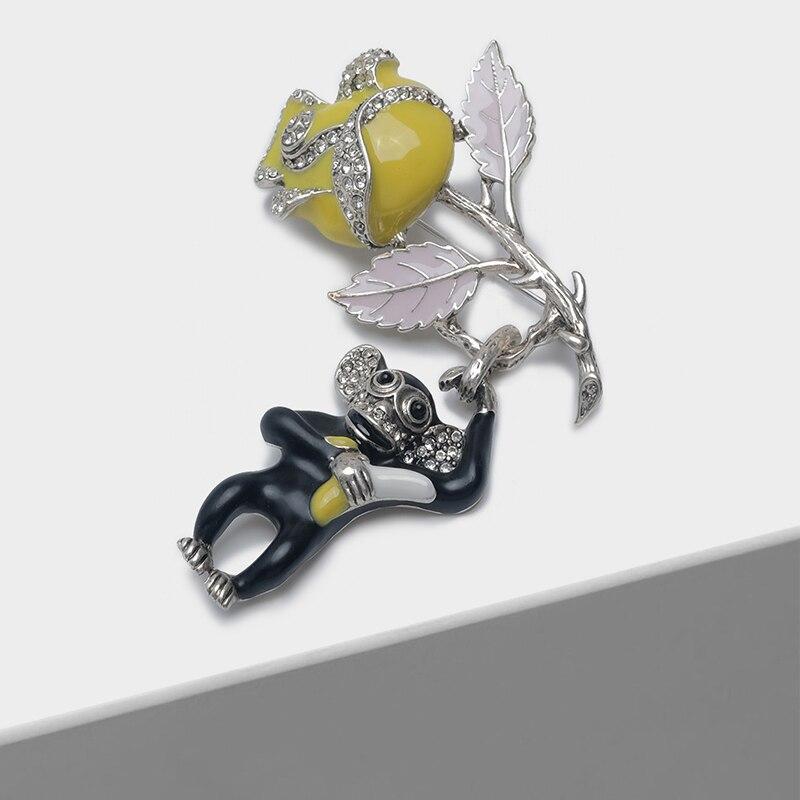 Amorita boutique Yellow rose monkey pin fashion broochAmorita boutique Yellow rose monkey pin fashion brooch