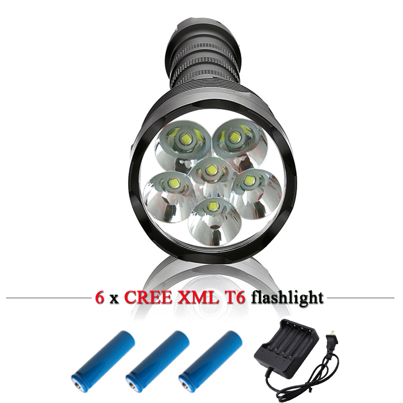 6 bulbs CREE XML T6 10000LM powerful led flashlight rechargeable 18650 battery waterproof hunting torch led flash lights lantern sitemap 42 xml