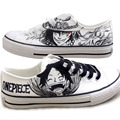 Boys Girls Graffiti Hand Painted Shoes One Piece Anime Canvas Shoes Men Women Low Top Lace-Up Shoes