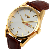 Skmei Men S Casual Quartz Watch 30M Waterproof Top Luxury Brand Wristwatches Fashion Calendar Business Gold