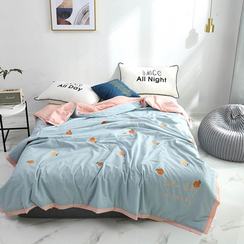 2019 Light Blue Orange Fruit Thin Summer Quilt Air-condition Embroidery Comforter Washed Cotton Fabric Polyester Queen Size2019 Light Blue Orange Fruit Thin Summer Quilt Air-condition Embroidery Comforter Washed Cotton Fabric Polyester Queen Size